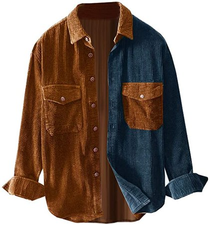 Ladyful Men's Classic Baggy Fit Button Down Corduroy Shirt Blouse Top at Amazon Men's Clothing store