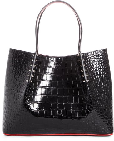 Small Cabarock Croc Embossed Calfskin Leather Tote