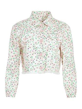 cropped floral jean jacket