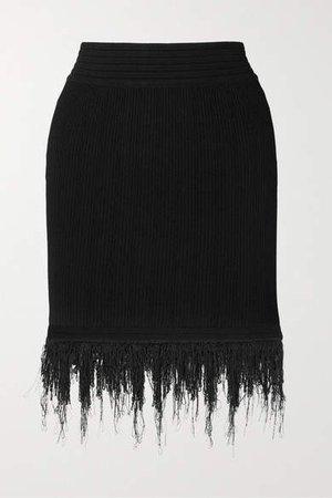 Fringed Ribbed-knit Mini Skirt - Black