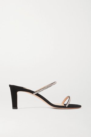 Brea 65 Crystal-embellished Suede Sandals - Black