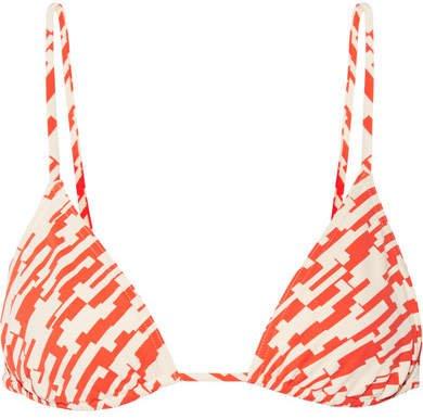 Mouna Printed Triangle Bikini Top - Bright orange