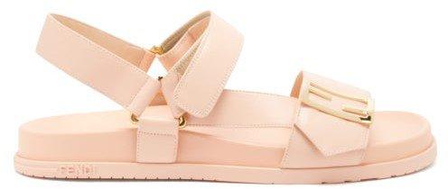Promenade Velcro-strap Leather Sandals - Light Pink
