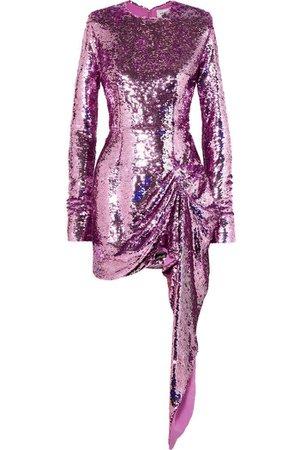 16Arlington Draped Sequined Crepe Mini Dress
