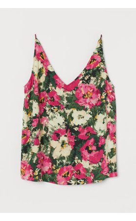 H&M Dark Green and Pink Floral V-Neck Camisole Top