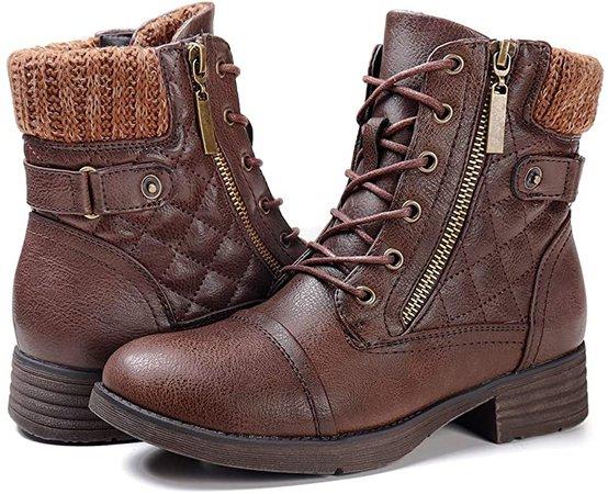 Amazon.com | STQ Women's Combat Boots Ankle Boots Fashion Non-Slip Brown 6.5 | Snow Boots