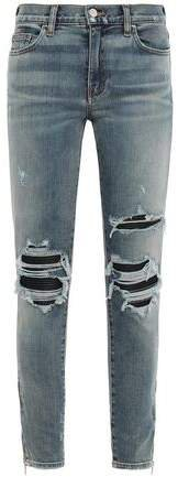 Leather-trimmed Distressed Mid-rise Skinny Jeans