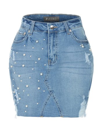 LE3NO Womens Stretchy Washed Ripped Light Denim Mini Skirt with Pearl Embellishment | LE3NO blue