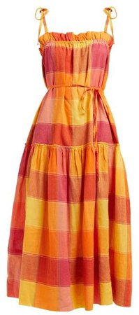 Belize Checked Tie Waist Cotton Dress - Womens - Orange