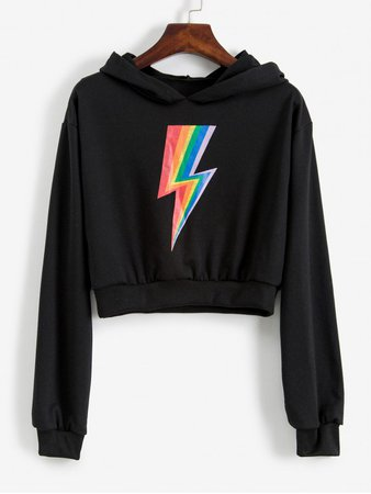 [30% OFF] [NEW] 2019 Cropped Rainbow Lightning Graphic Hoodie In BLACK   ZAFUL