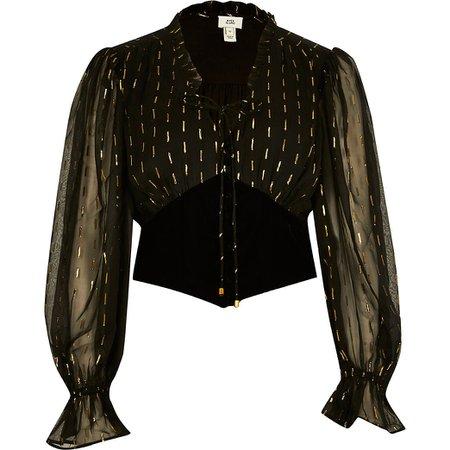 Black long sleeve corset lurex blouse top | River Island