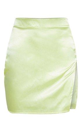 Lime Satin High Waisted Slit Mini Skirt | PrettyLittleThing USA