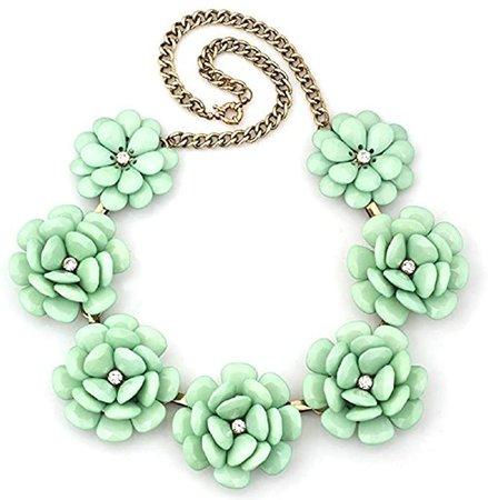 Amazon.com: HoBST Big Green Flowers Bib Bubble Collar Crystal Statement Necklace Chunky Choker Pendant: Jewelry