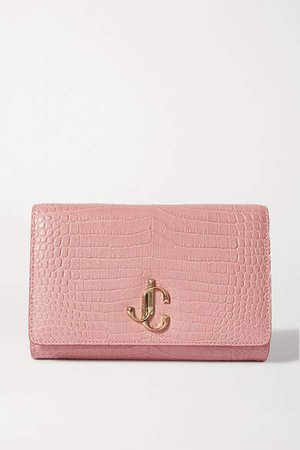 Varenne Croc-effect Leather Clutch - Pink
