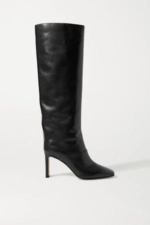 Black Mahesa 85 leather knee boots | Jimmy Choo | NET-A-PORTER