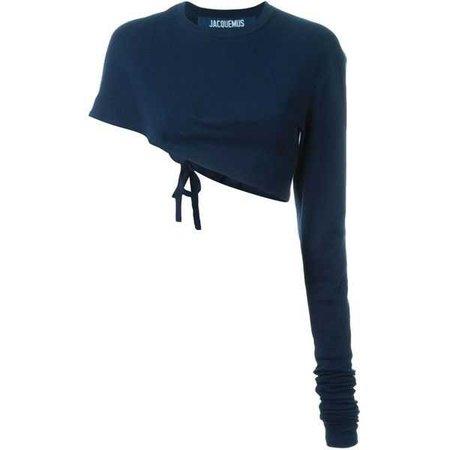 blue crop one sleeve top