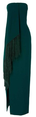 oscar de la renta green scarf dress