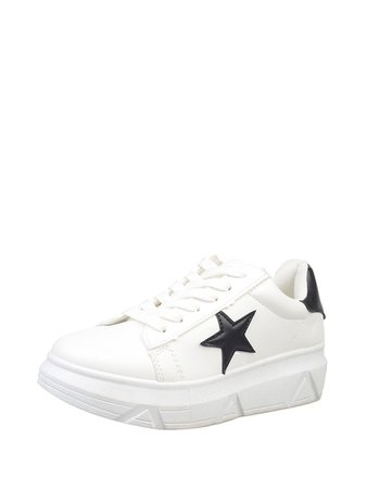 Star Patch Lace Up PU Platform Sneakers