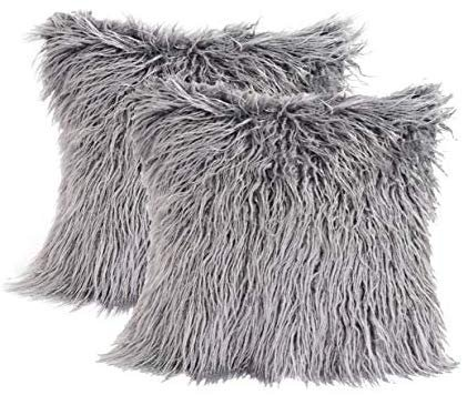 Amazon.com: 2 Pack Fluffy Throw Pillow Covers Grey 18x18 inch/45x45cm, Soft Cuddly Faux Mongolian Fur Cushion Cover for Bed & Couch Decorative Furry Throw Pillow Cases: Home & Kitchen