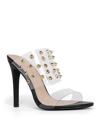 Embellished Lucite Heel in Black | VENUS