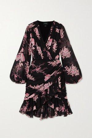Wrap-effect Ruffled Floral-print Silk-georgette Mini Dress - Black