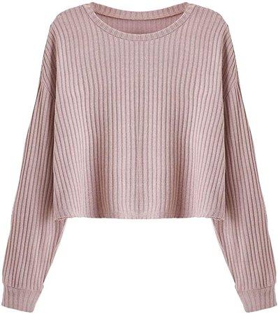 SweatyRocks Women's Casual Solid Ribbed Knit Raglan Long Sleeve Crop Top T Shirt Plain Army Green XL at Amazon Women's Clothing store