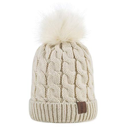 Amazon.com: Kids Winter Warm Fleece Lined Hat, Baby Toddler Children's Beanie Pom Pom Knit Cap for Girls and Boys by REDESS (Cream White): Clothing