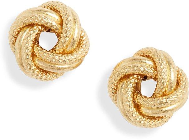 14K Gold Knot Stud Earrings
