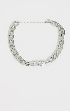 Silver Double Clasp Chain Choker   PrettyLittleThing USA