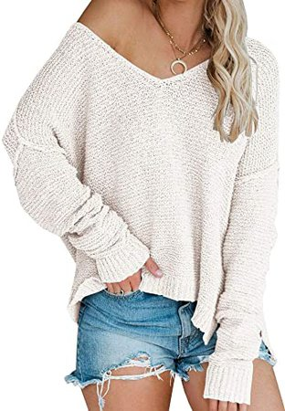 Amazon.com: Women's Casual V-Neck Off-Shoulder Batwing Sleeve Pullover Sweater Tops Beige: Clothing