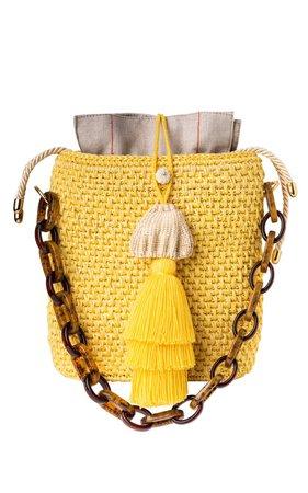 Iraca Yellow Jacquard Tote by Maison Alma | Moda Operandi
