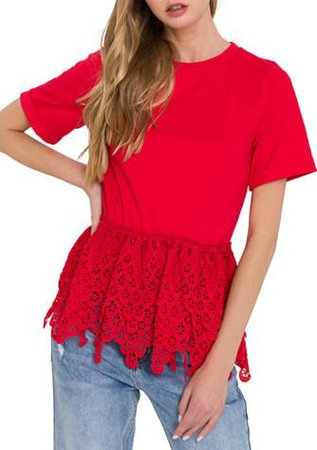 ndless Rose Lace Trim Top
