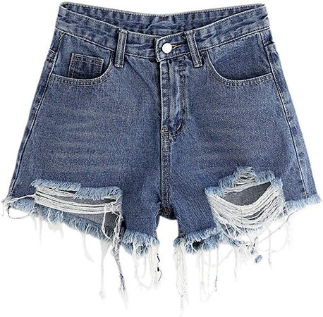 MAKEMECHIC Women's Frayed Raw Hem Ripped Distressed Denim Shorts at Amazon Women's Clothing store