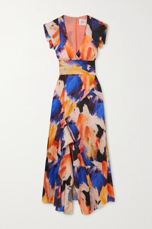 Euphoria Asymmetric Ruffled Printed Satin Wrap Maxi Dress - Blue
