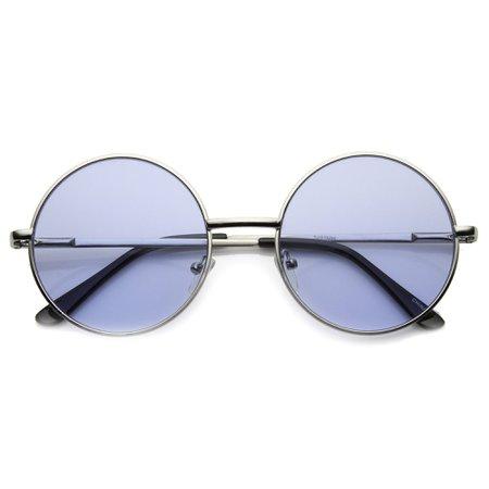 Retro Hippie Mid Sized Round Color Lens Sunglasses - zeroUV