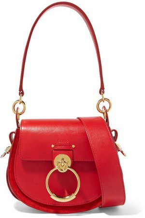 Tess Small Leather And Suede Shoulder Bag - Red