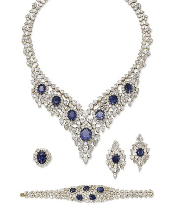 SAPPHIRE AND DIAMOND SUITE OF JEWELLERY, BY TABBAH