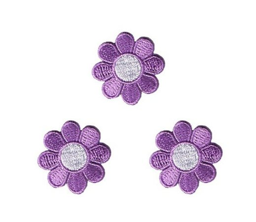 Lot of 3 Daisy Lavender with White Center Embroidered Iron On   Etsy