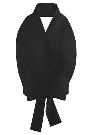 Tie Waist Halter Crop Top in Black - Retro, Indie and Unique Fashion