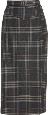 Red Valentino Tartan Plaid Midi Skirt