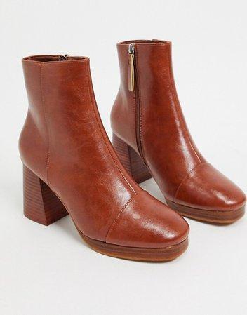 ASOS DESIGN Rhona platform boots in tan   ASOS