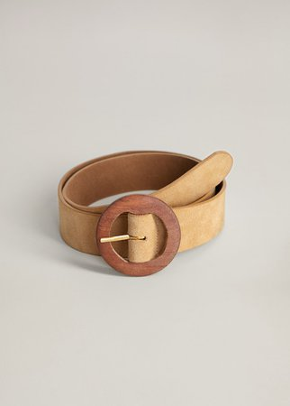 Wood buckle leather belt - Woman | Mango Bulgaria