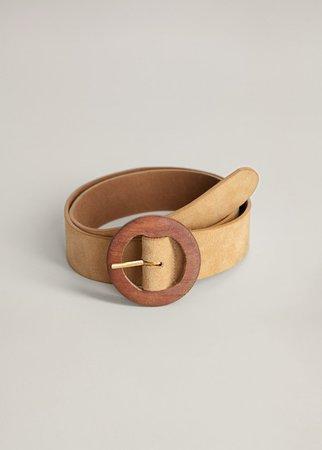 Wood buckle leather belt - Woman | Mango Bulgaria