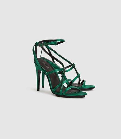 Dana Jewel Emerald Jewelled Strappy Sandals – REISS
