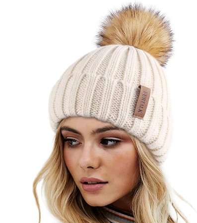 FURTALK Womens Winter Knitted Beanie Hat with Faux Fur Pom Warm Knit Skull Cap Beanie for Women at Amazon Women's Clothing store
