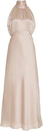 Saloni Michelle Silk-Satin Midi Dress