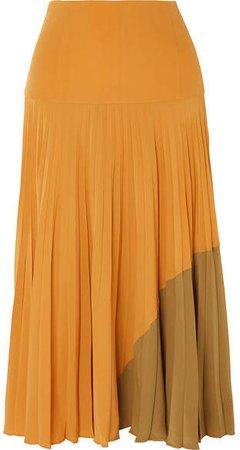 Plissé Silk Crepe De Chine Midi Skirt - Yellow