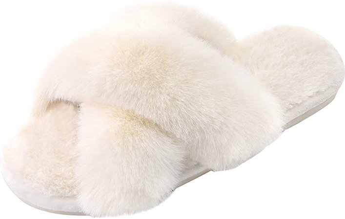 Amazon.com | Women's Cross Band Slippers Soft Plush Furry Cozy Open Toe House Shoes Indoor Outdoor Faux Rabbit Fur Warm Comfy Slip On Breathable | Slippers