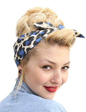 Vintage Look 50s Style Rockabilly Pin up Girl Head Scarf in Cream,Charcoal and Blue: Amazon.co.uk: Clothing