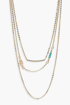Yasmin Layered Bar & Turquoise Bead Necklace